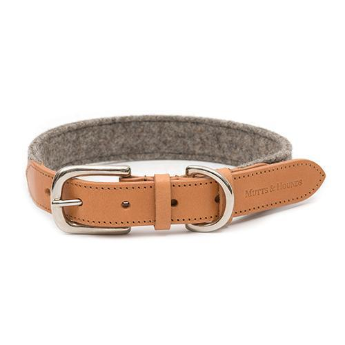Mutts & Hounds Camello Leather & Grey Tweed Collar (Medium) **Was £57.00 Now £34.20**