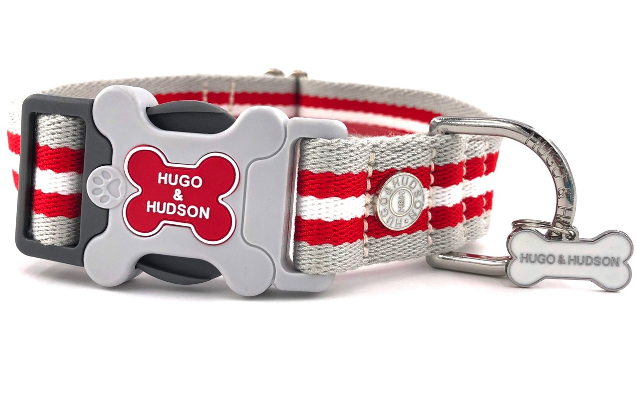 H&H Dog Collar Red Classic Stripe