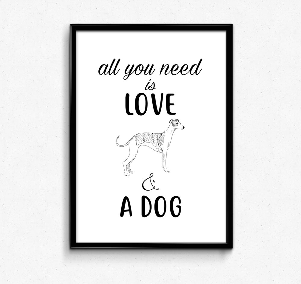 Tabby Rabbit Love & A Whippet, A4 Print **Was £10.00 Now £5.00**