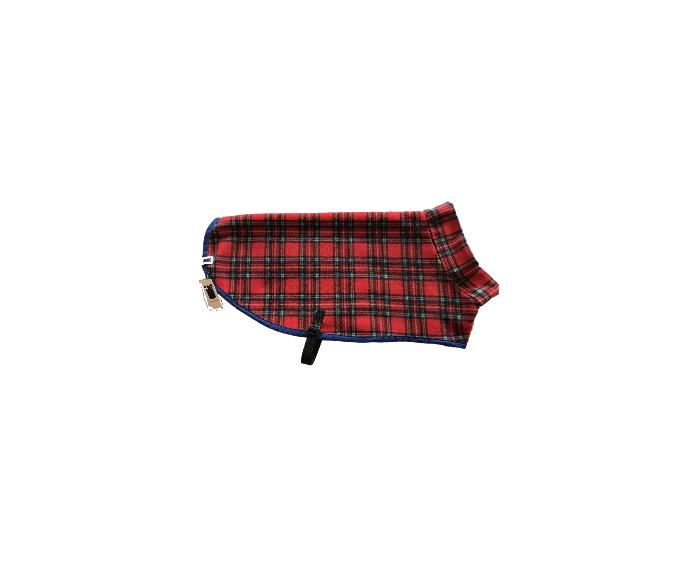 Kittydog Red Tartan Plain Jacket (Extra Small)