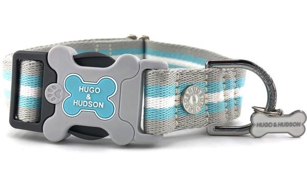 H&H Dog Collar Baby Blue Classic Stripe