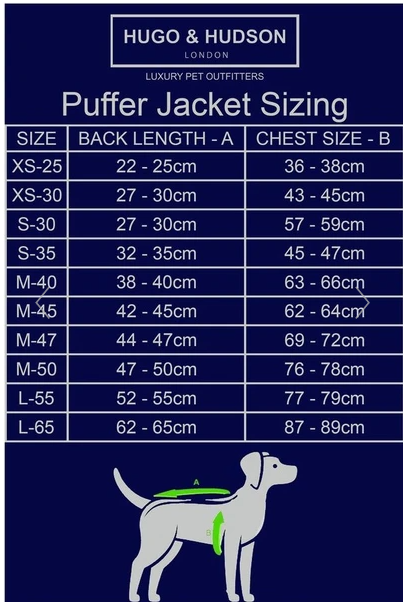 Hugo & Hudson Dog Puffer Jacket - Black & Grey