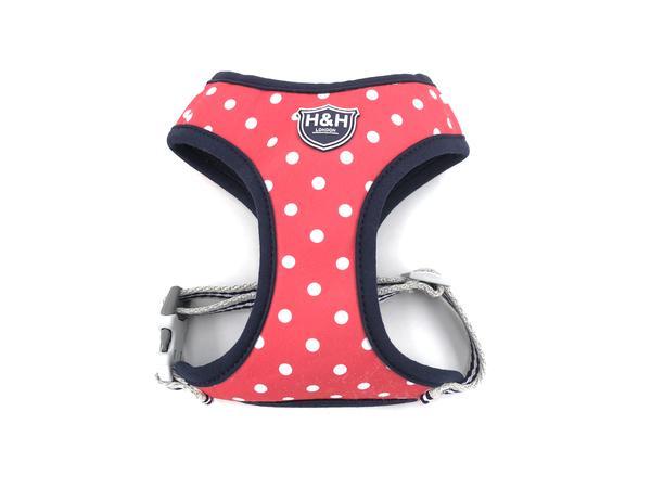 H&H Dog Harness Red Polka Dot