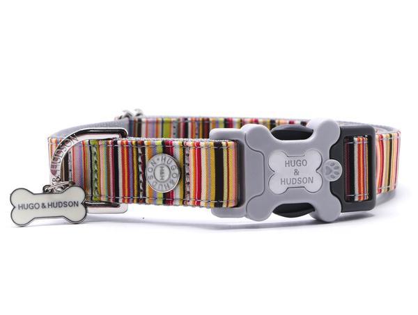 H&H Dog Collar Multi Coloured Stripe