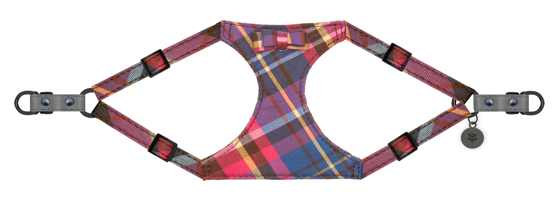 Sötnos Puppy Bow Collection - Harness Tartan Design Grey