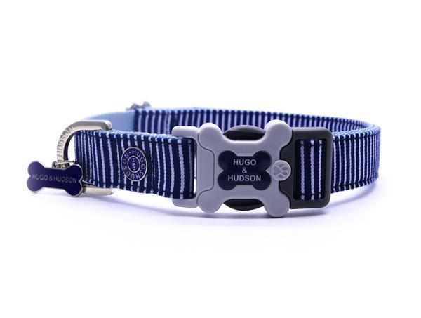 H&H Dog Collar Navy Stripe