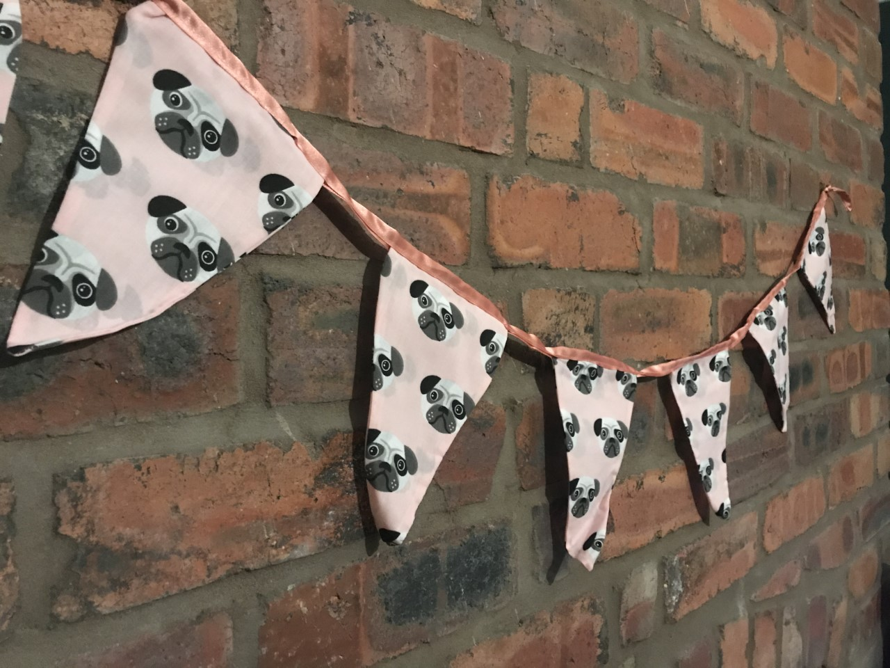 Bunting - Pink Pug Print (3 metres) **Was £10.00 Now £5.00**