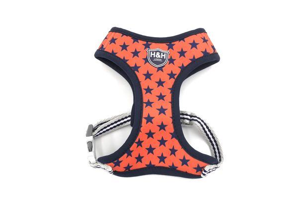 H&H Dog Harness Navy Orange Star