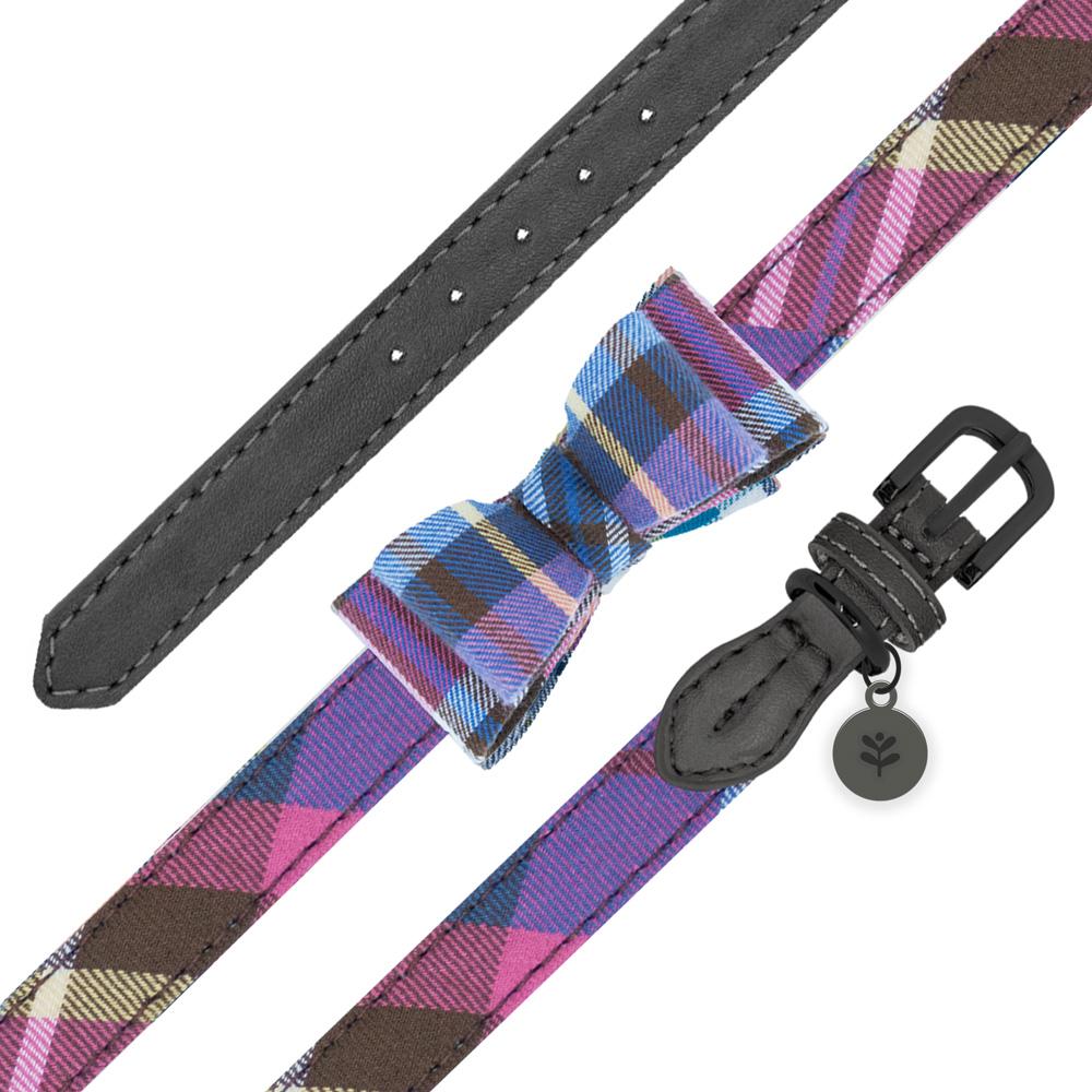 Sötnos Puppy Bow Collection - Collar Tartan Design Grey