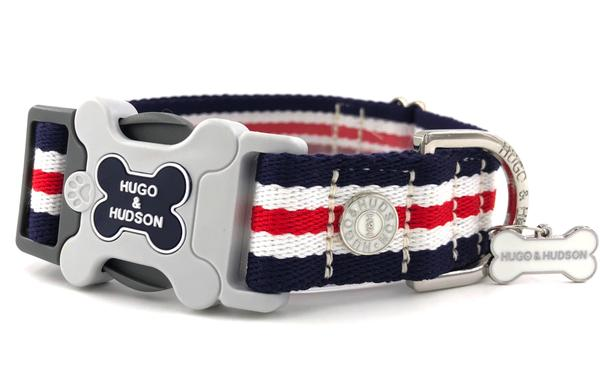H&H Dog Collar Red White and Blue Classic Stripe