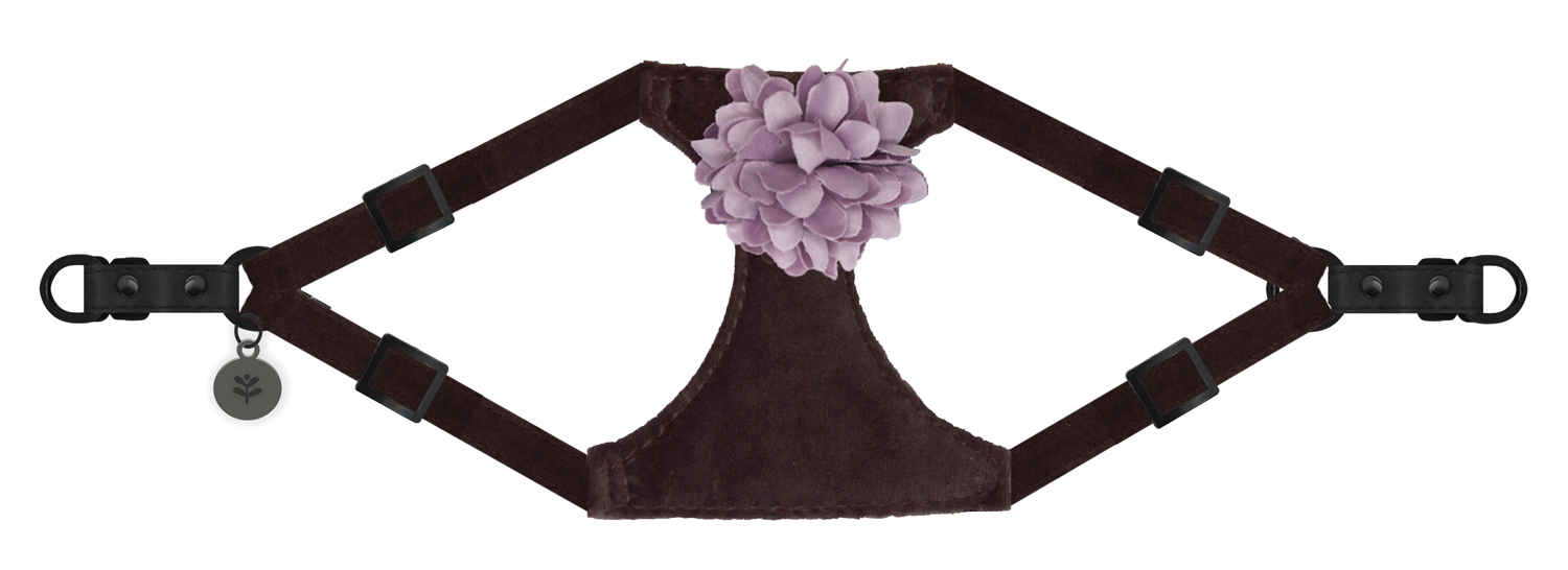 Sötnos Puppy Bow Collection - Harness Velvet Flower Pink