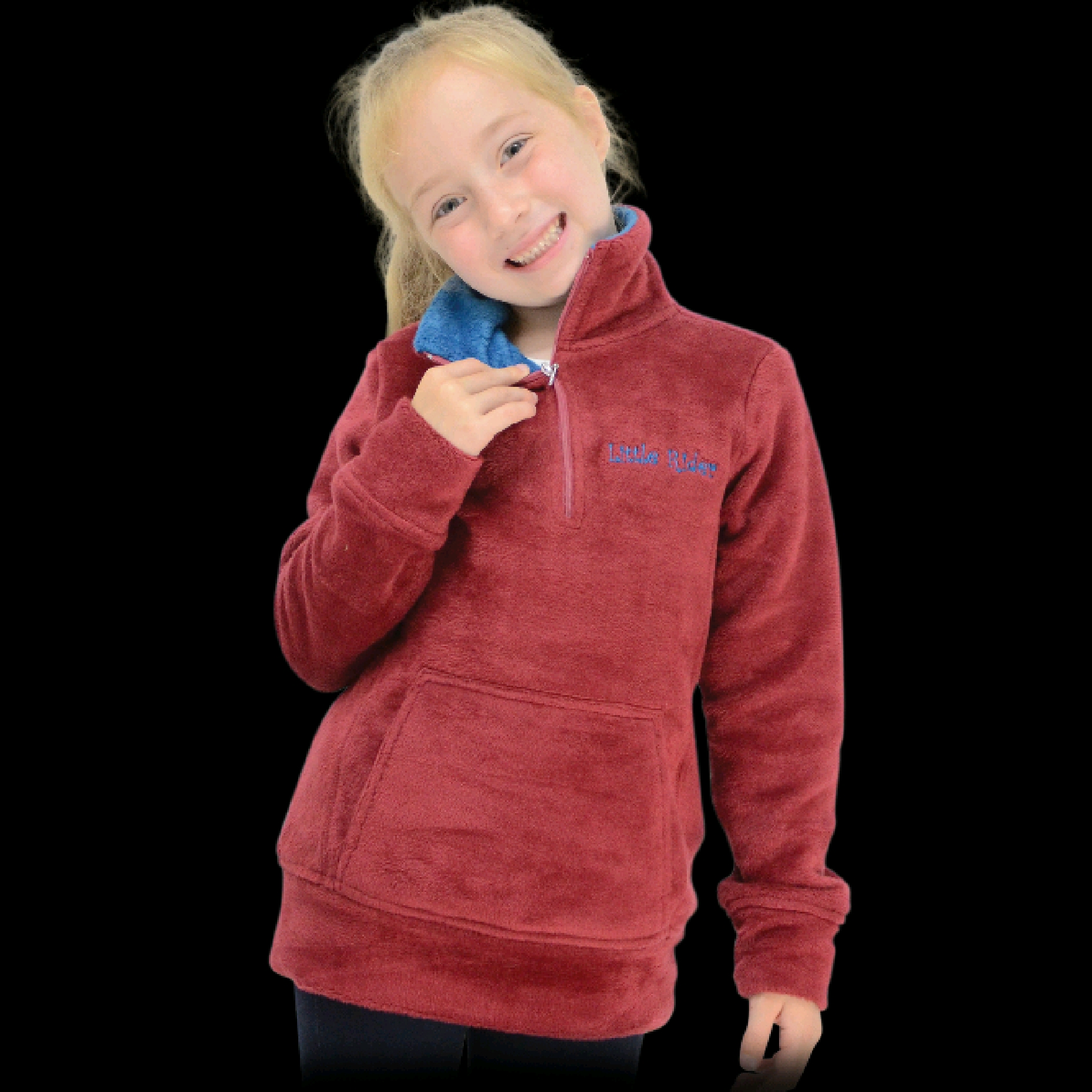 HY Little Rider Childrens Soft Fleece Deep Red/Teal