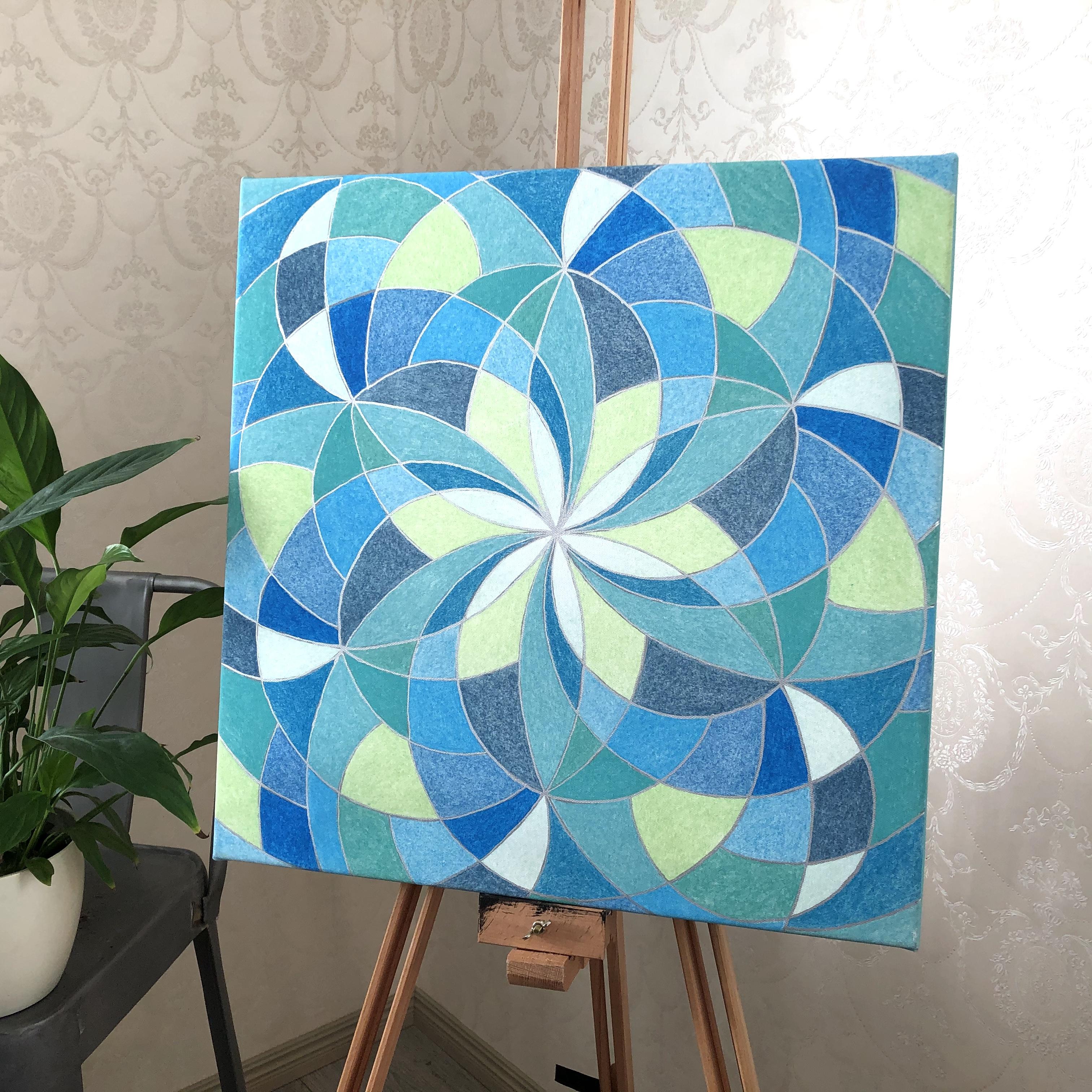 Pyhää geometriaa Vesi-elementti kanvastaulu 50 x 50 cm
