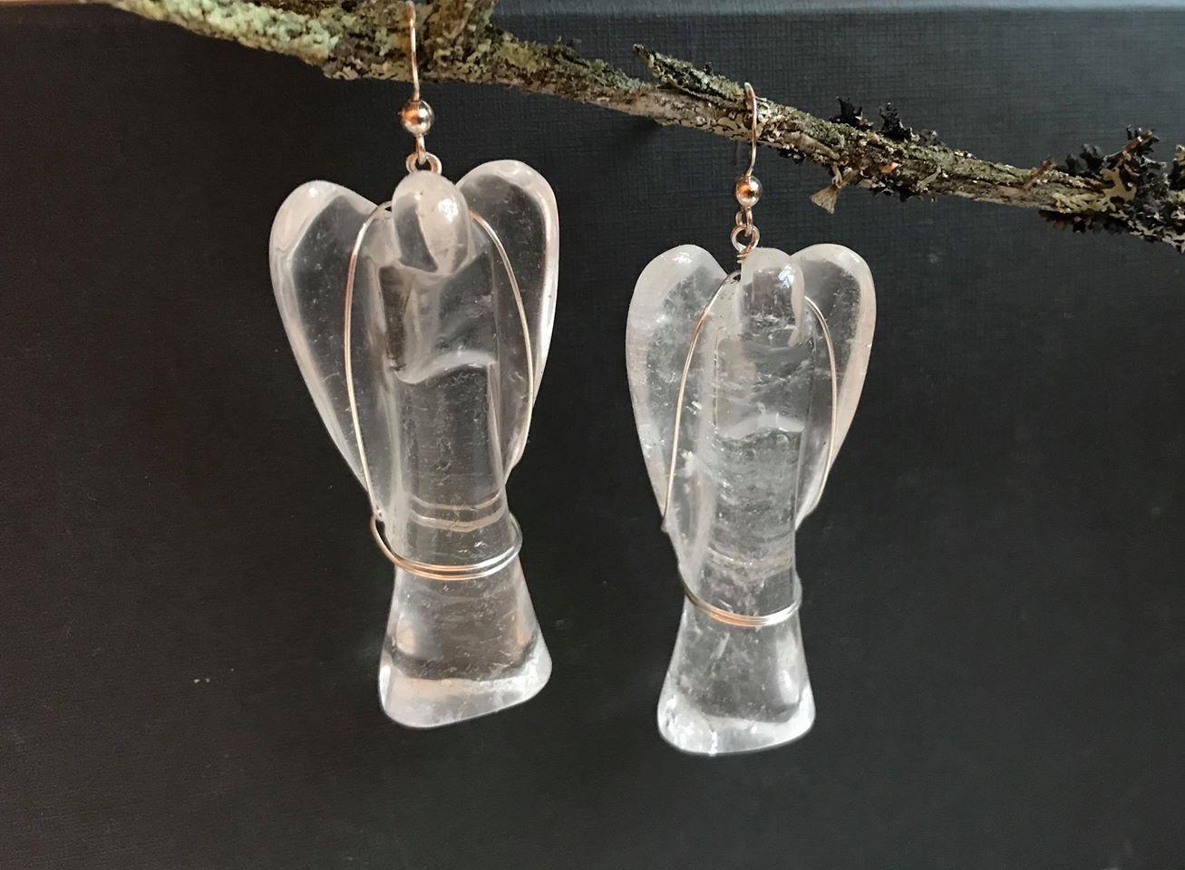 Vuorikristalli enkeli - korvakorut