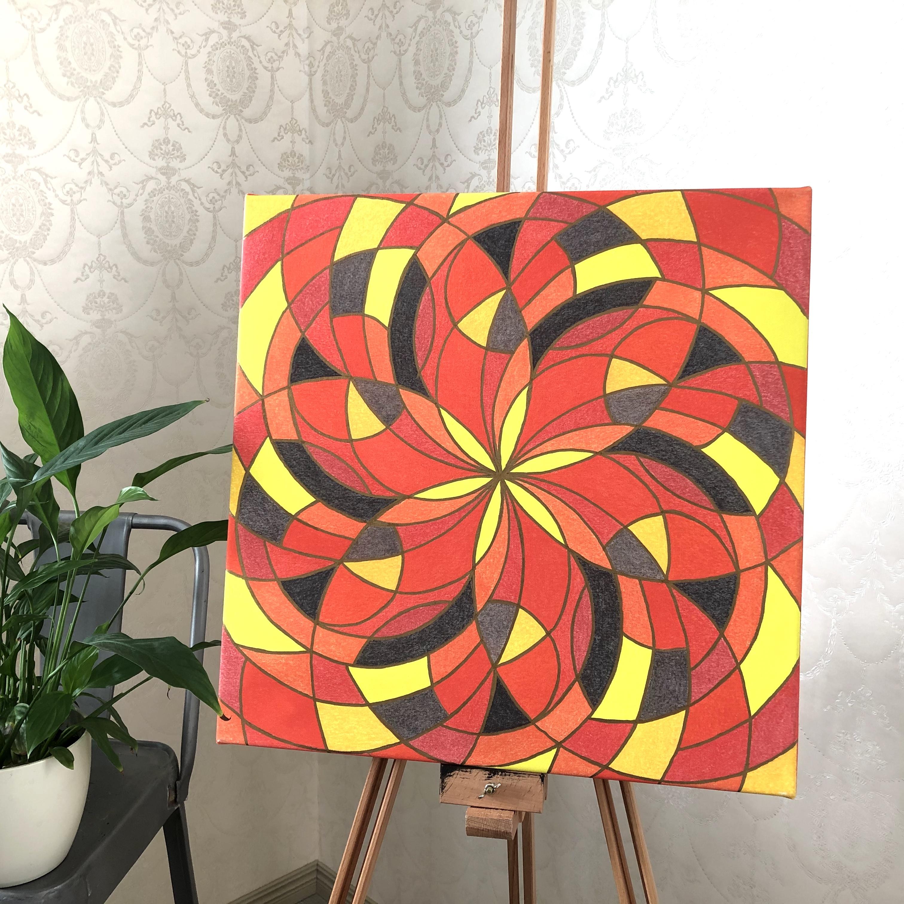 Pyhää geometriaa Tuli-elementti kanvastaulu 50 x 50 cm
