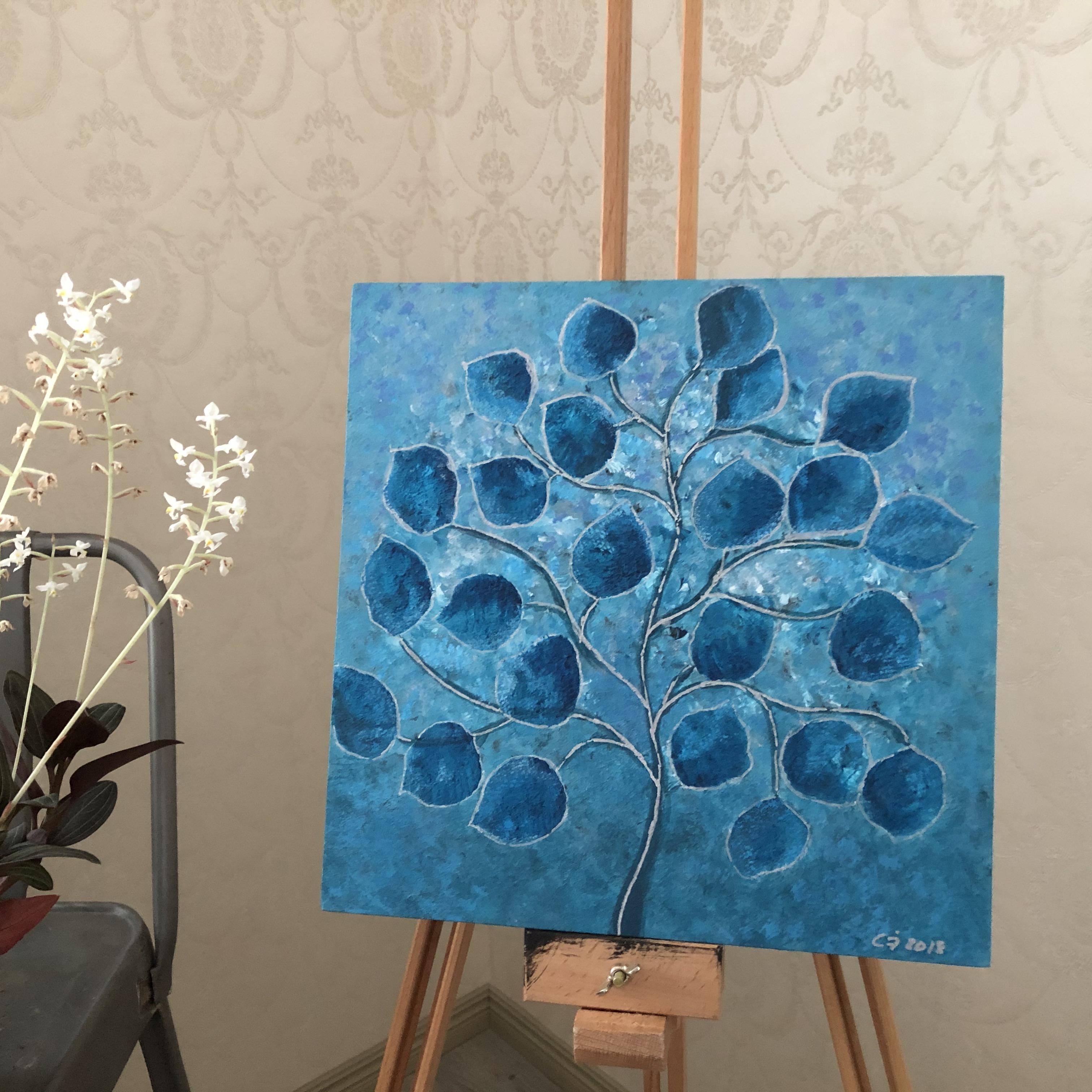 Pieni sininen puu, taulu 30 x30 cm