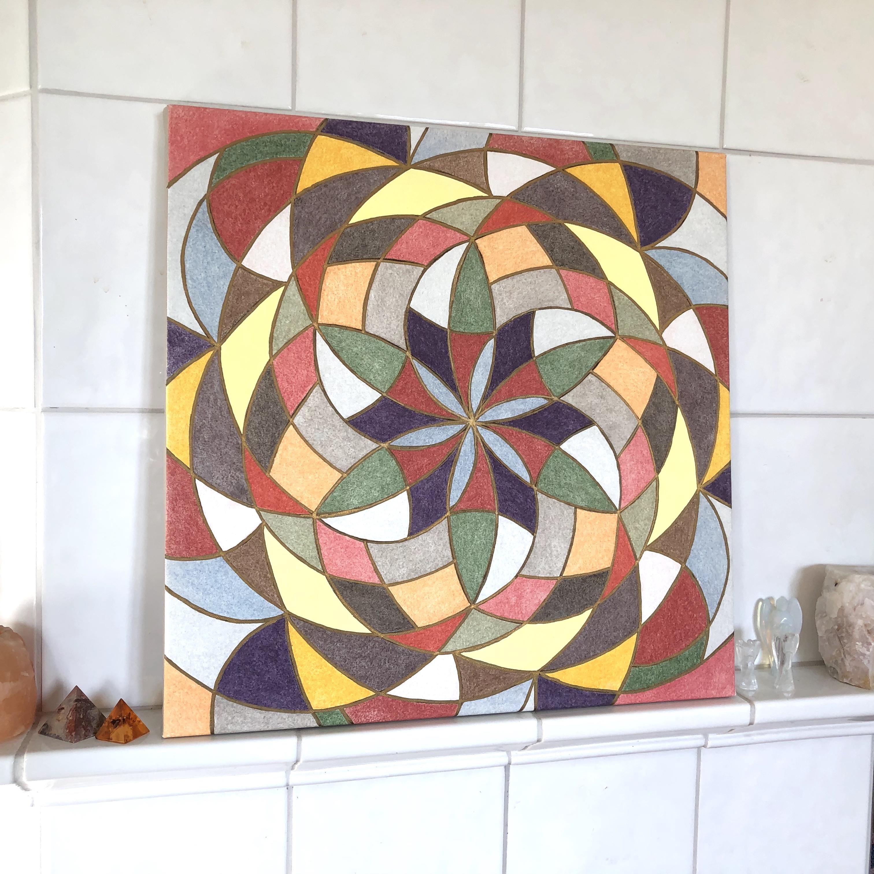 Pyhää geometriaa Maaelementti kanvastaulu 50 x 50 cm