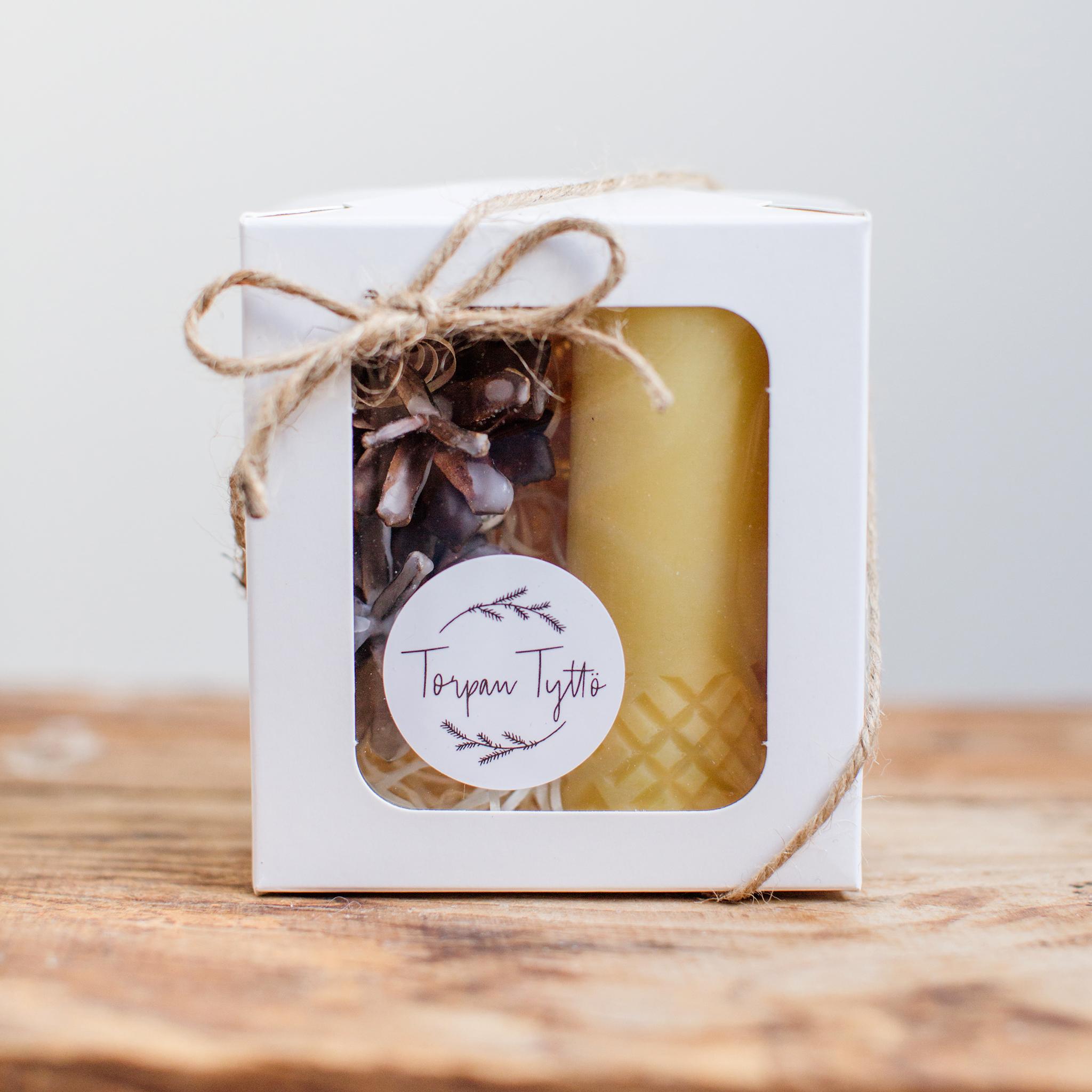 Mehiläisvahakynttilä, lahjapakkaus pieni