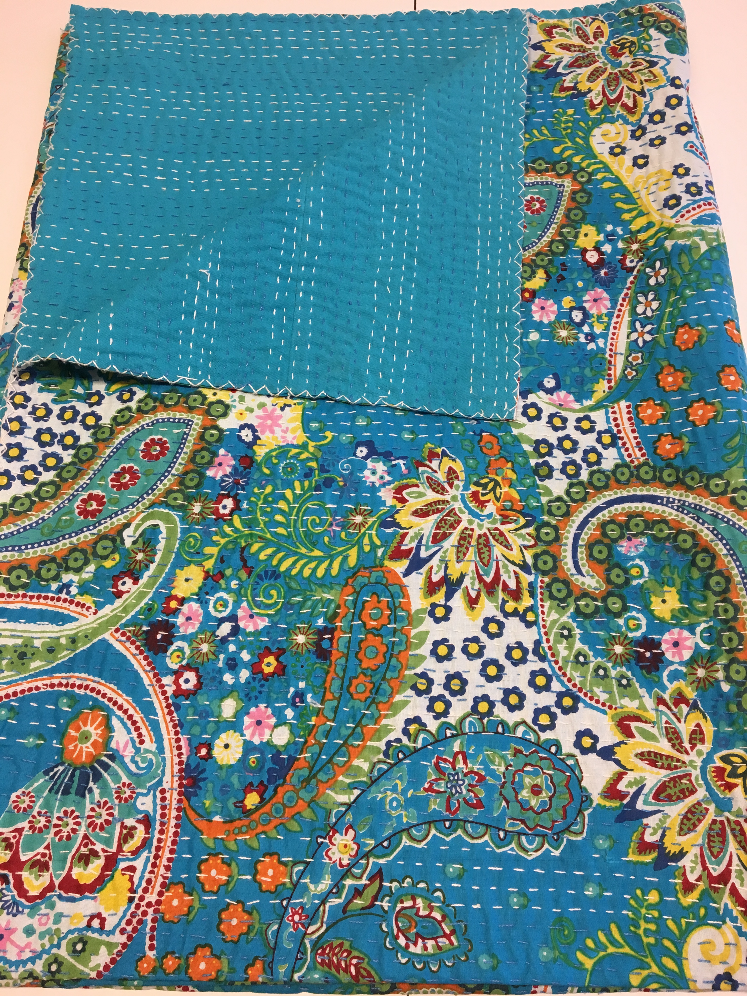 Kantha Quilt Blue Paisley