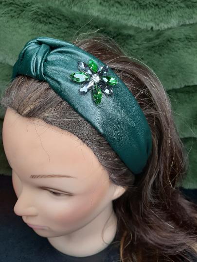 Embellished Leather Headband
