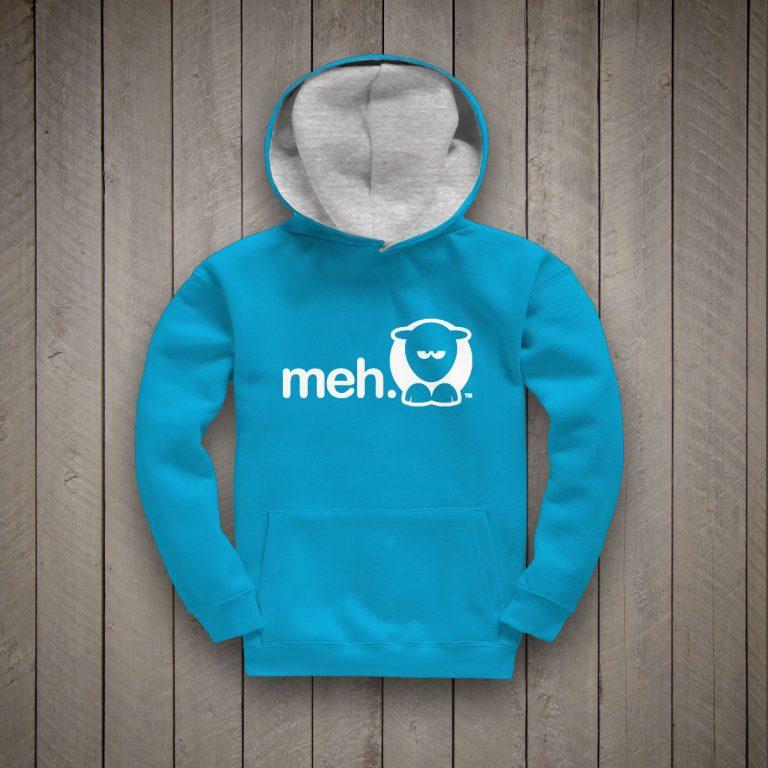 Meh Kids Hoodie (Turquoise/Grey)