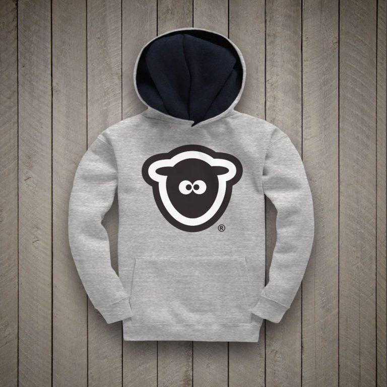 Sheepface Kids Hoodie (Grey/Navy)
