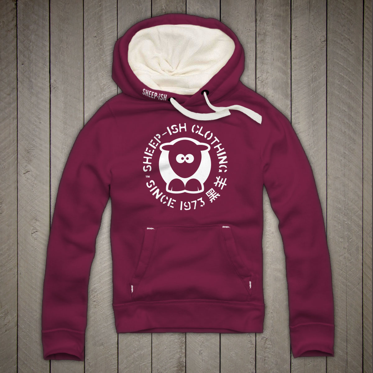 Sheepish Circle Hoodie (Cranberry)