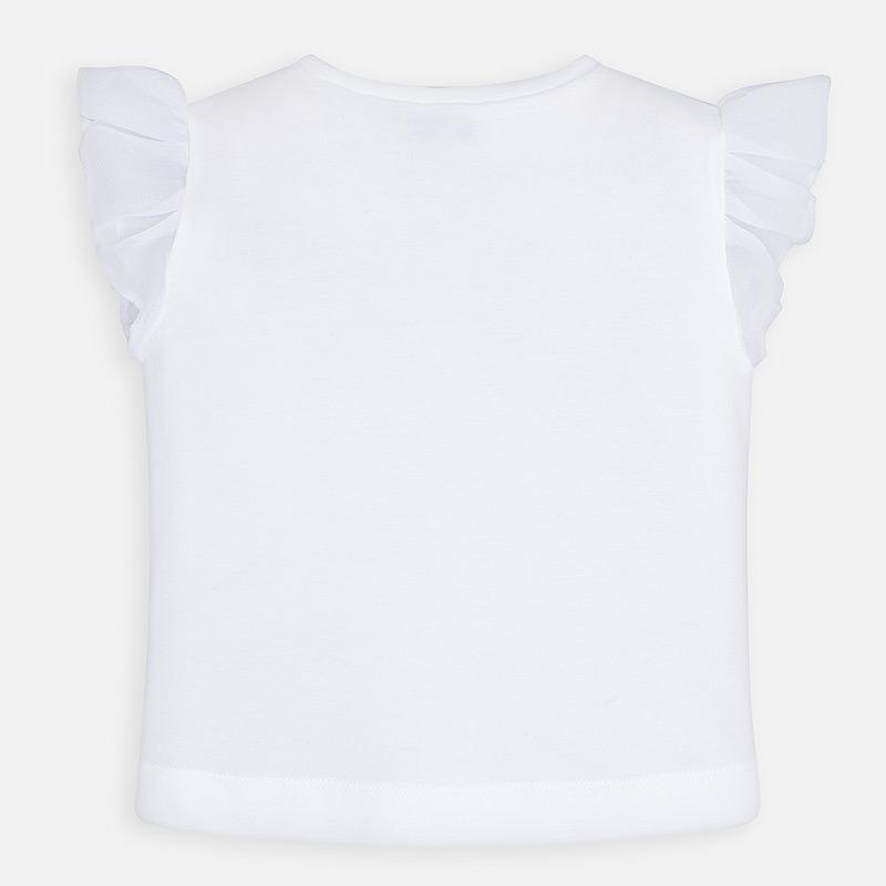 MAYORAL Girls T-Shirt S/S White Mauve Bows 3002-52