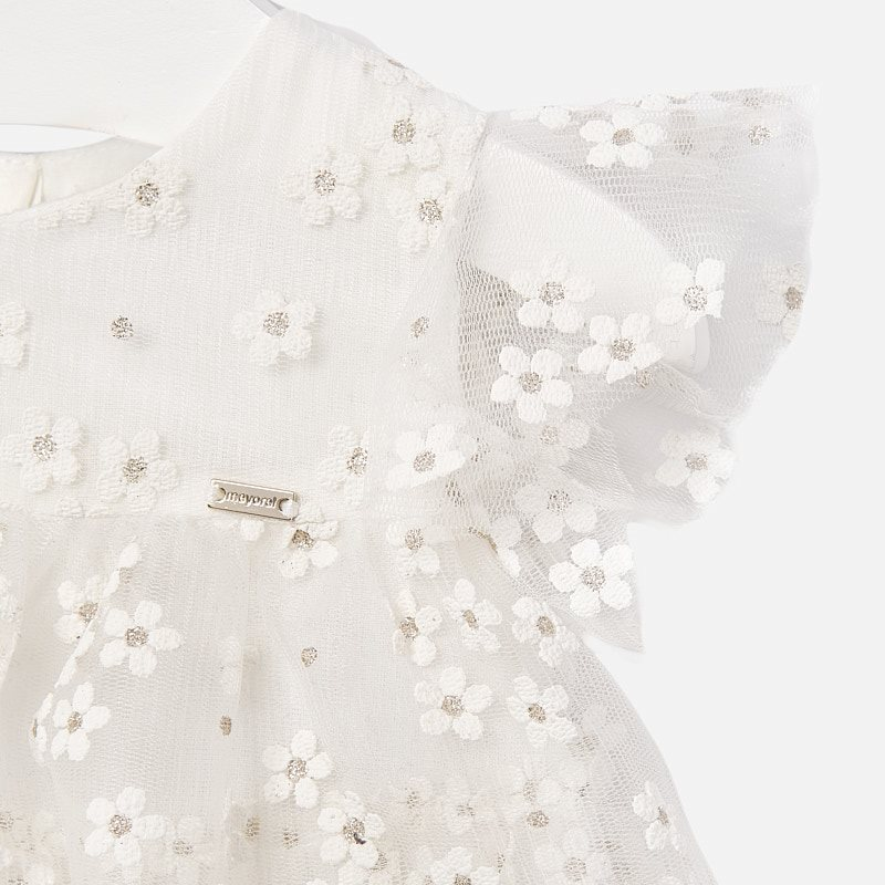 MAYORAL BABY Girl Dress Flowers Tulle White 1909