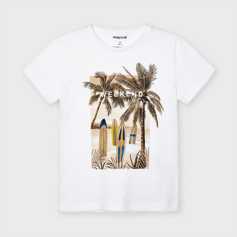 MAYORAL BOYS T-Shirt Sustainable Cotton' Palms and Surf' White 3032-065