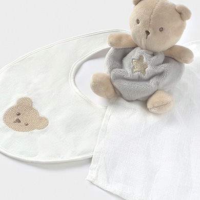 MAYORAL BABY Set Toy and Bib Gift grey 19810-46 NOW £12.95