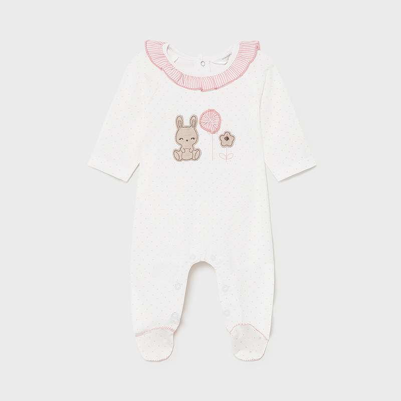MAYORAL NEWBORN GIRL Pink Spotted Knit Pyjama 1608-083