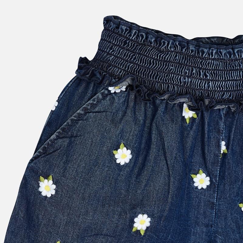MAYORAL Girls Embroidered denim shorts 3280-005