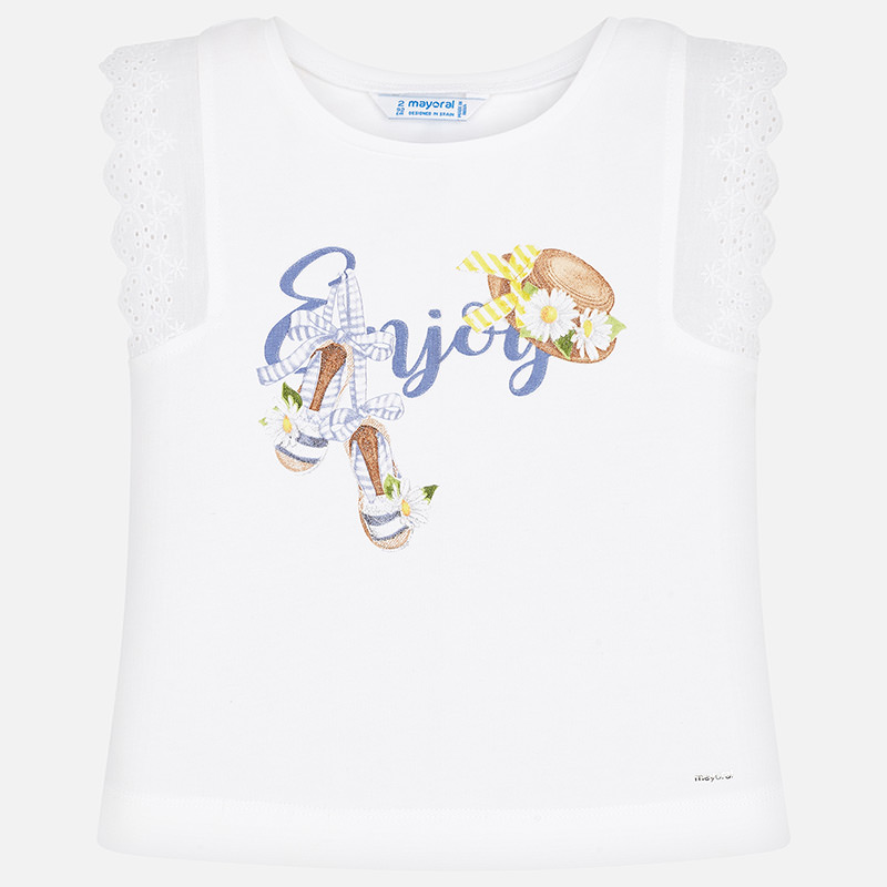 """MAYORAL Girls T-Shirt sleeveless """"Enjoy"""" White 3024-059. Before £13.95"""