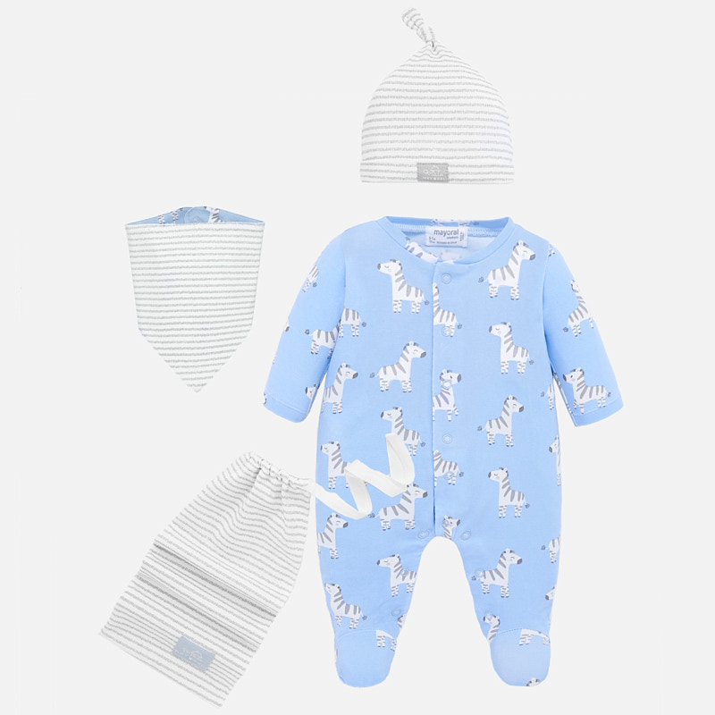 MAYORAL Baby Boy Zebra Long Pyjamas + bib, hat and bag  Blue 1778. Before £22