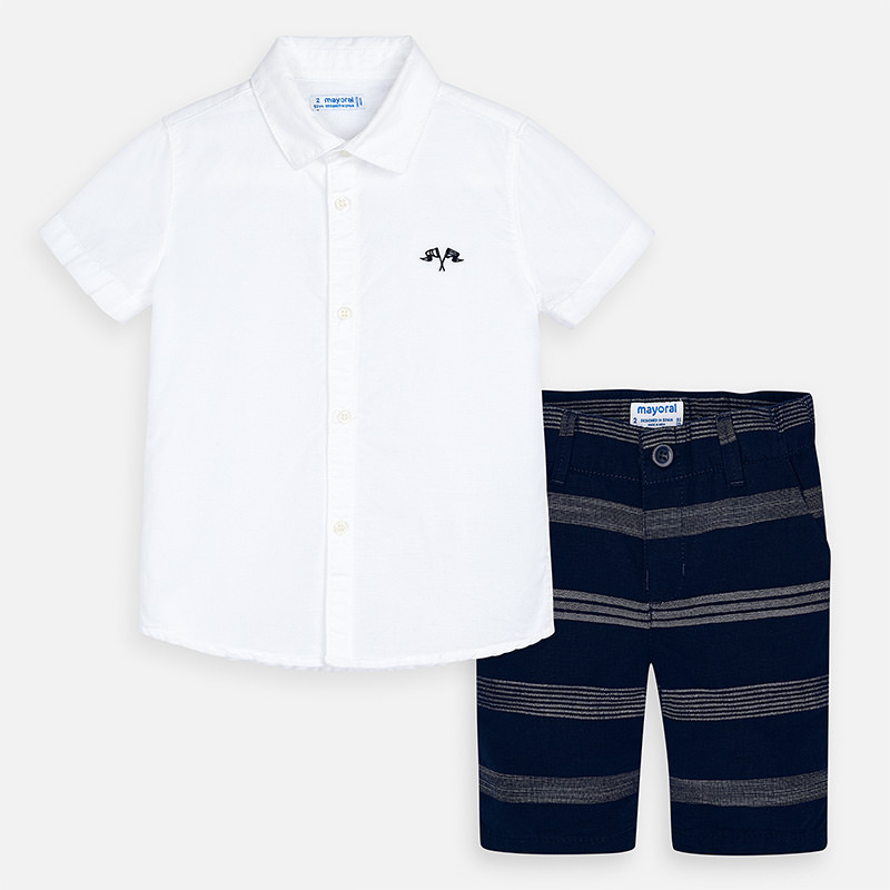 MAYORAL Boys Bermuda Navy and Shirt S/S White 3269-014
