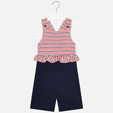 MAYORAL Girls Striped Jumpsuit 3816-010