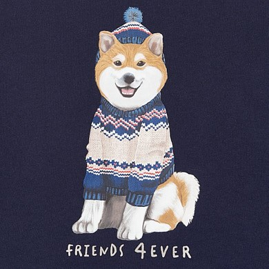 MAYORAL Boys T-Shirt Long Sleeved 'Dog Friends 4 Ever' Navy 2050-036 NOW £5