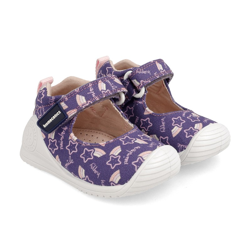 BIOMECANICS Girls Mary Jane Canvas Blue/Pink 'Stars' 202204A