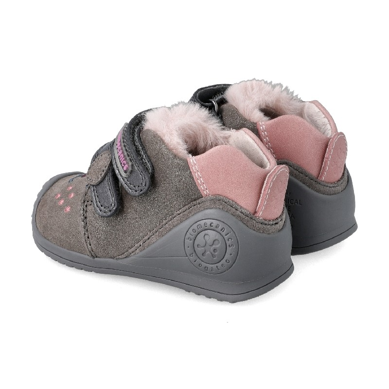 BIOMECANICS GIRLS 'Puppy' Ankle Boots Grey and Pink 201114-B