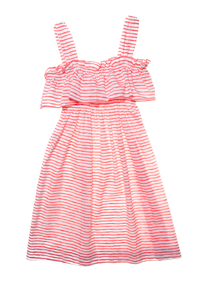 LAPEKI Girls Dress Rayas Coral