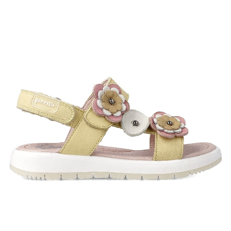GARVALIN GIRLS Sandals Yellow and  Pink Flowers 212415A