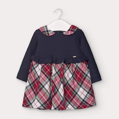 MAYORAL Baby Girl Checked Dress. Navy. 2960-094