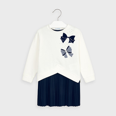 MAYORAL Girls Set Dress and Sweatshirt White/Navy 4986-061