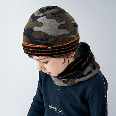 MAYORAL Boys Set Hat/Scarf 'Camouflage' 10892-085