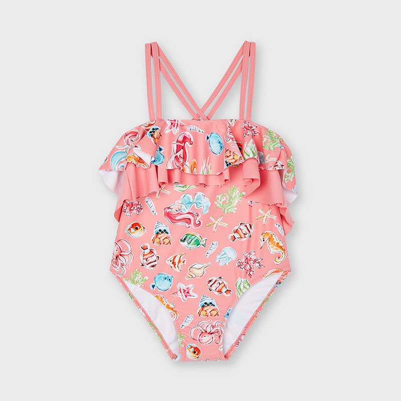 MAYORAL GIRLS Print One Piece Swimsuit with Ruffle 3745-073