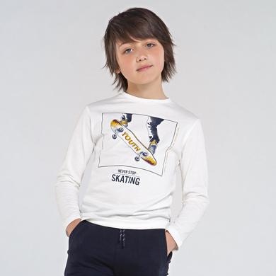 MAYORAL Teens Boys T-Shirt 'Skate' White  7053-024 NOW £7.50