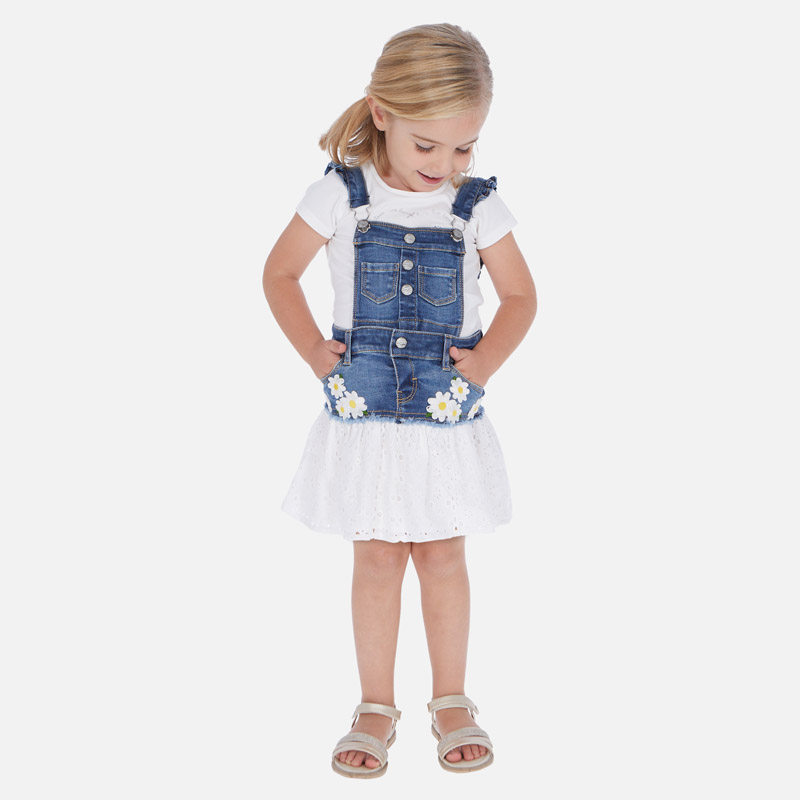 MAYORAL Girls Denim combined skirt dungarees 3909-005. Before £30.50