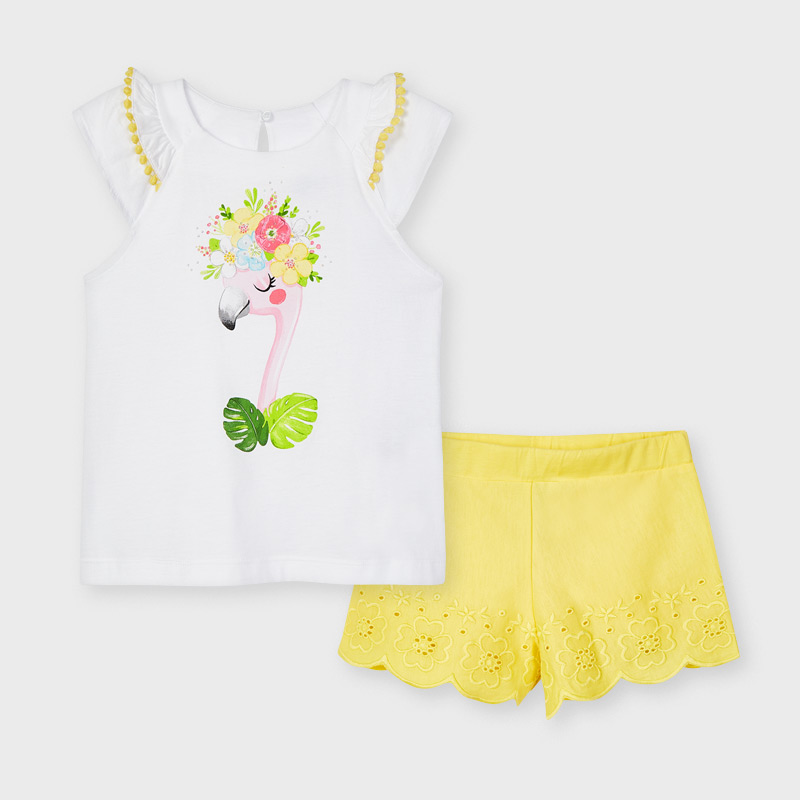 MAYORAL GIRLS Set Shorts with Embroided Shirt 3217-010