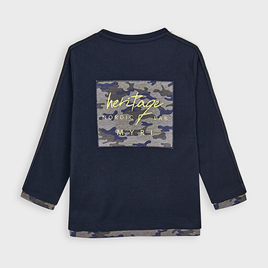 MAYORAL Boys T-Shirt Navy/Camouflage 4041-058 NOW £7.50